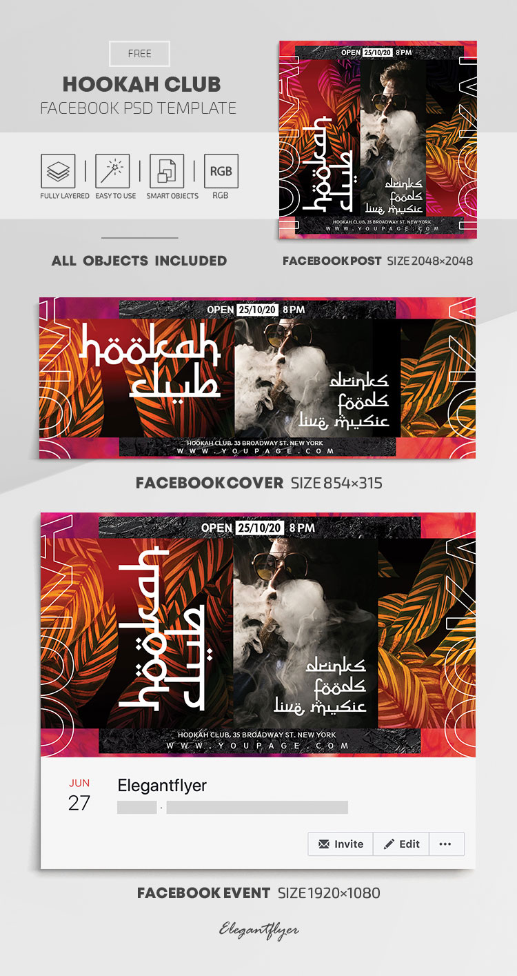 Hookah Club – Free Facebook Cover Template in PSD + Post + Event cover