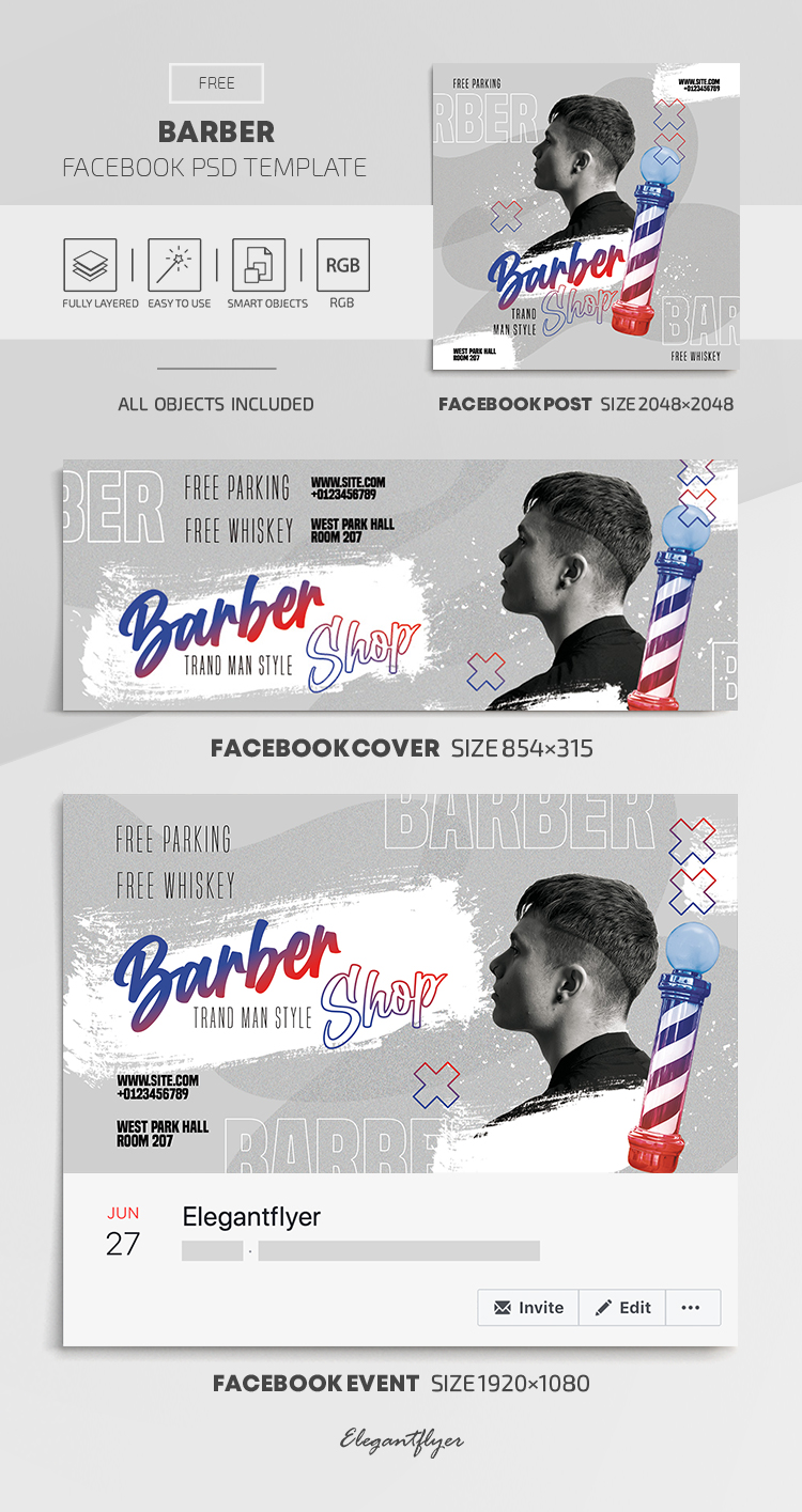 Barber – Free Facebook Cover Template in PSD + Post + Event cover