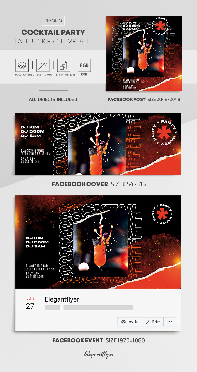Cocktail Party – Facebook Cover Template in PSD + Post + Event cover