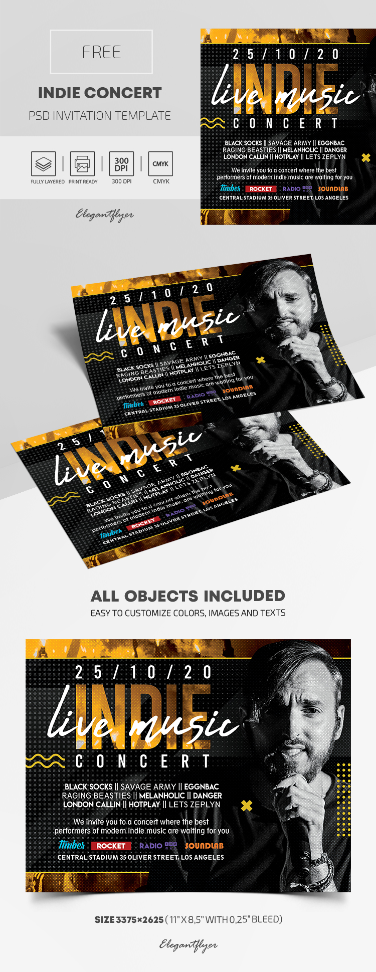 Free Indie Concert Invitation PSD Template