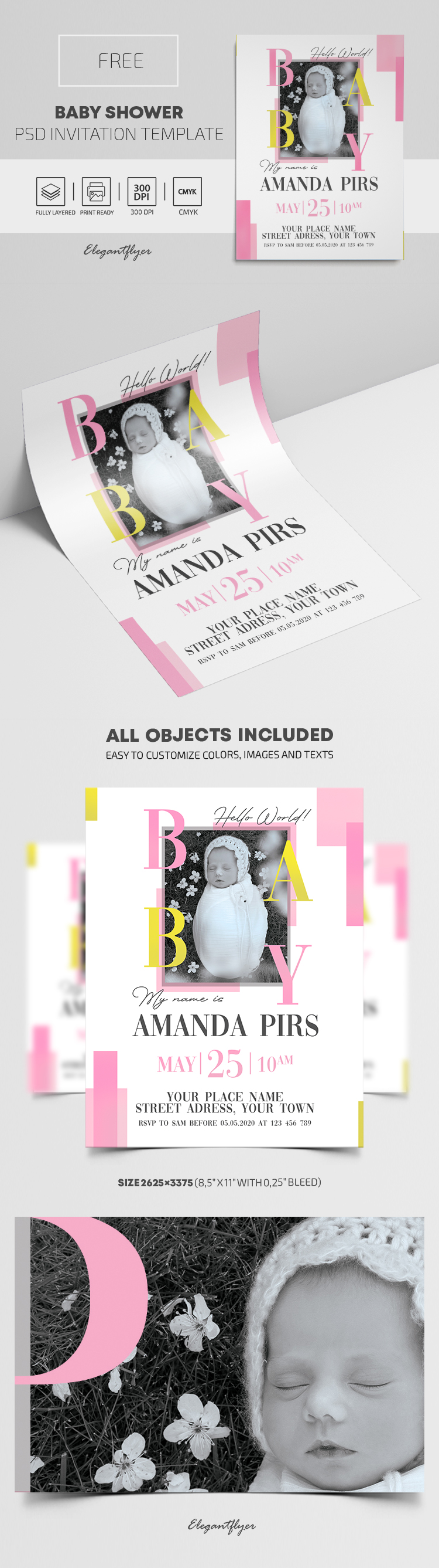 Free Baby Shower Invitation PSD Template