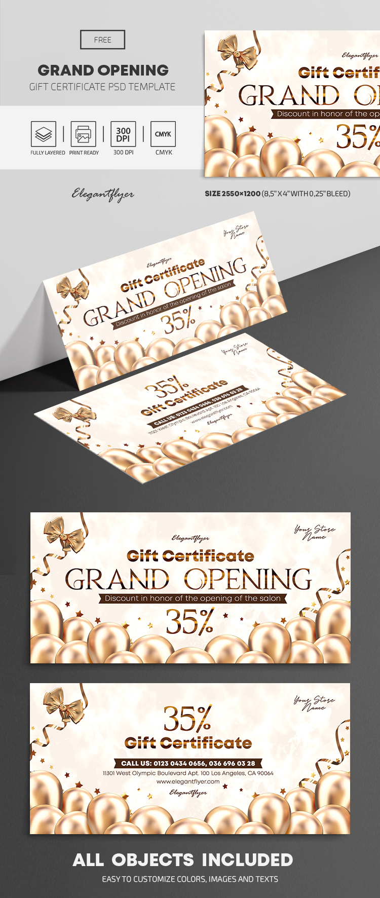 Grand Opening – Free Gift Certificate Template in PSD