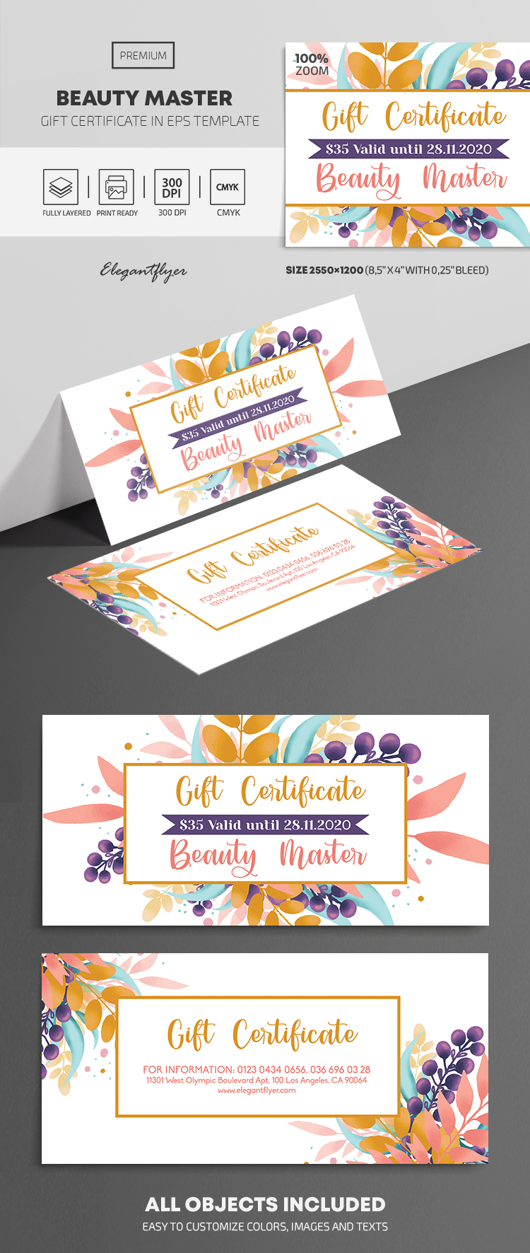 Beauty Master – Premium Gift Certificate Template in EPS