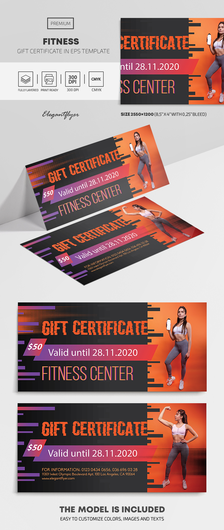 Fitness – Premium Gift Certificate Template in EPS