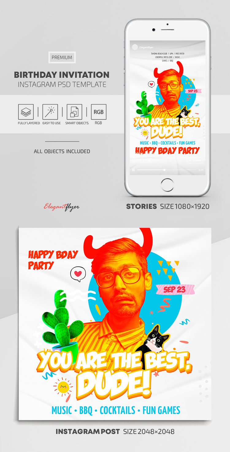 Birthday Invitation – Instagram Stories Template in PSD + Post Templates