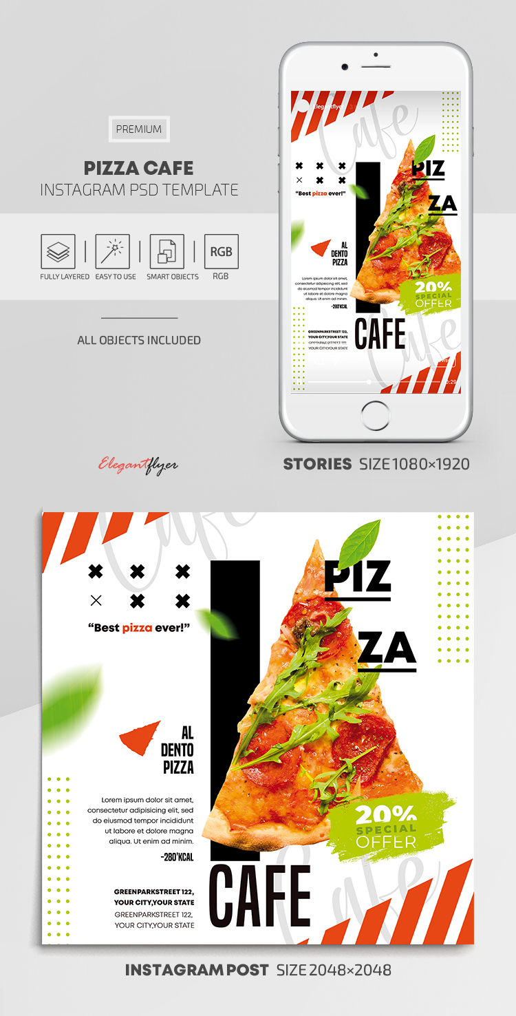 Pizza Cafe – Instagram Stories Template in PSD + Post Templates