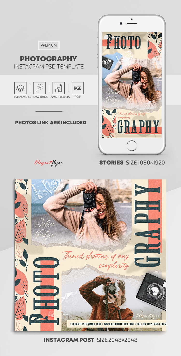 Photography – Instagram Stories Template in PSD + Post Templates