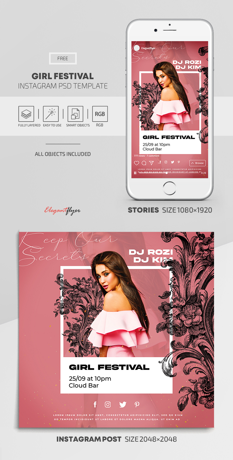 Girl Festival – Free Instagram Stories Template in PSD + Post Templates