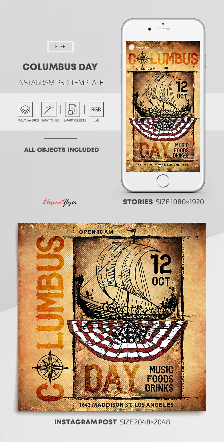 Columbus Day – Free Instagram Stories Template in PSD + Post Templates