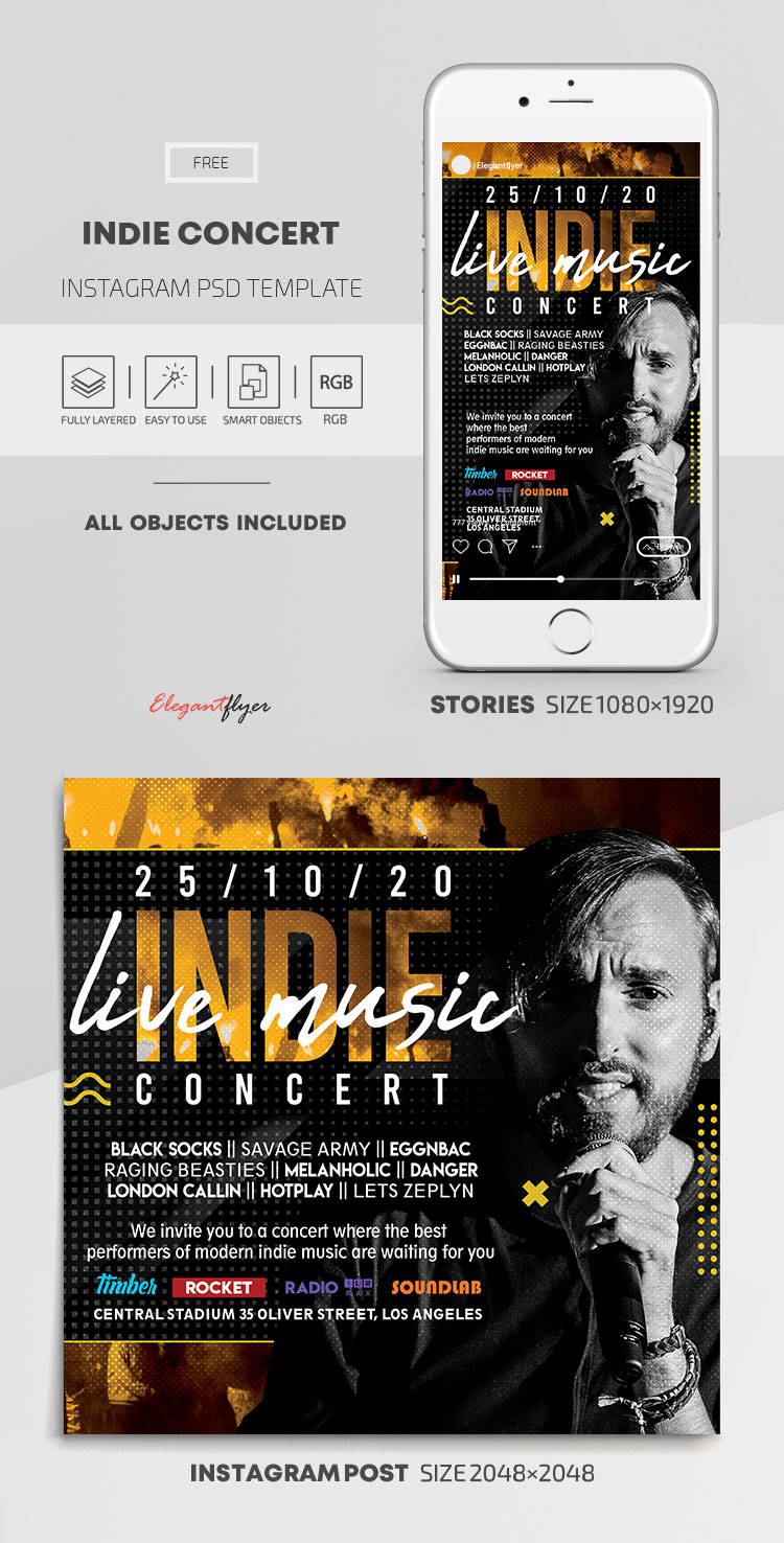 Indie Concert – Free Instagram Stories Template in PSD + Post Templates