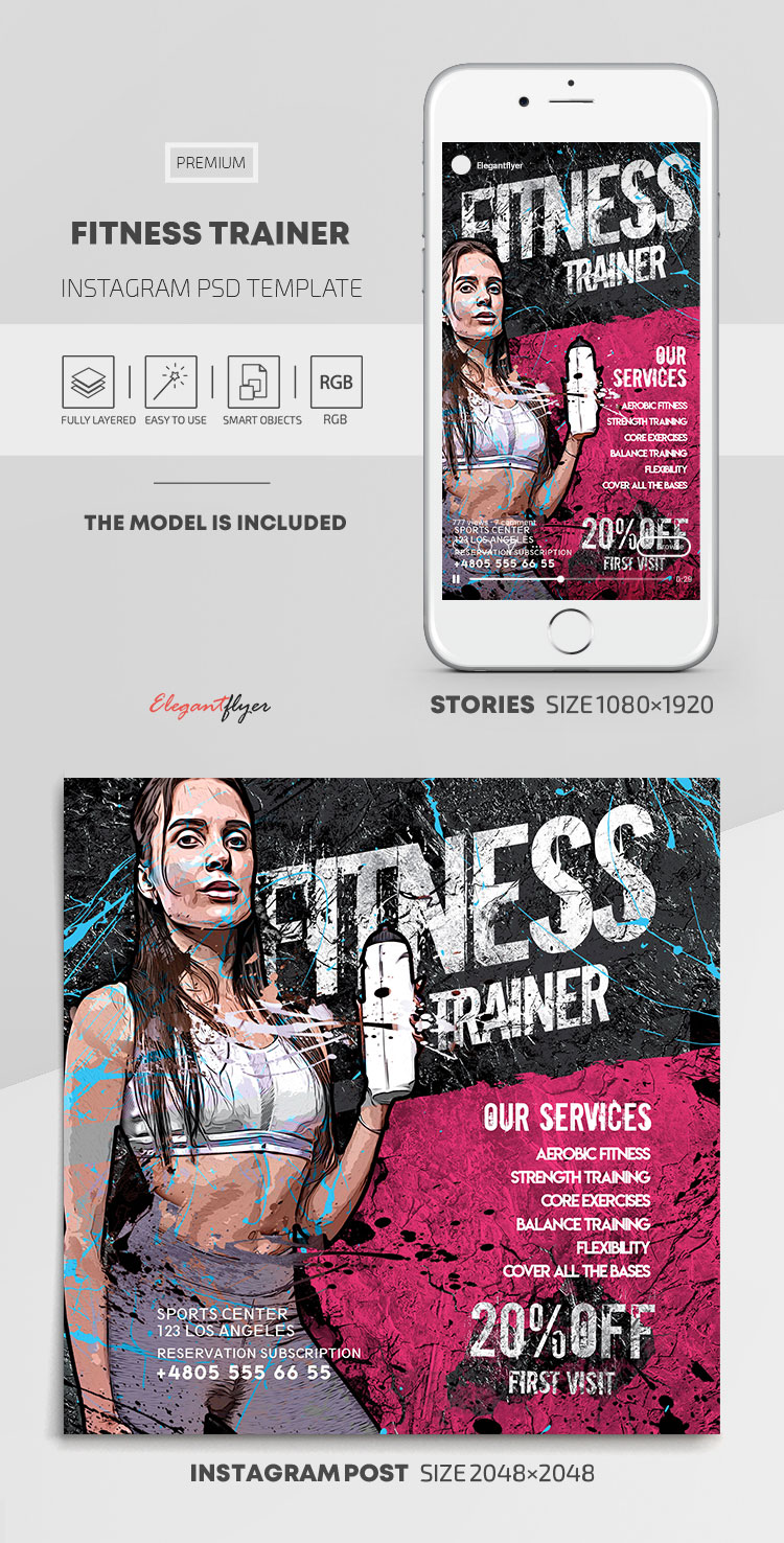 Fitness Trainer – Instagram Stories Template in PSD + Post Templates
