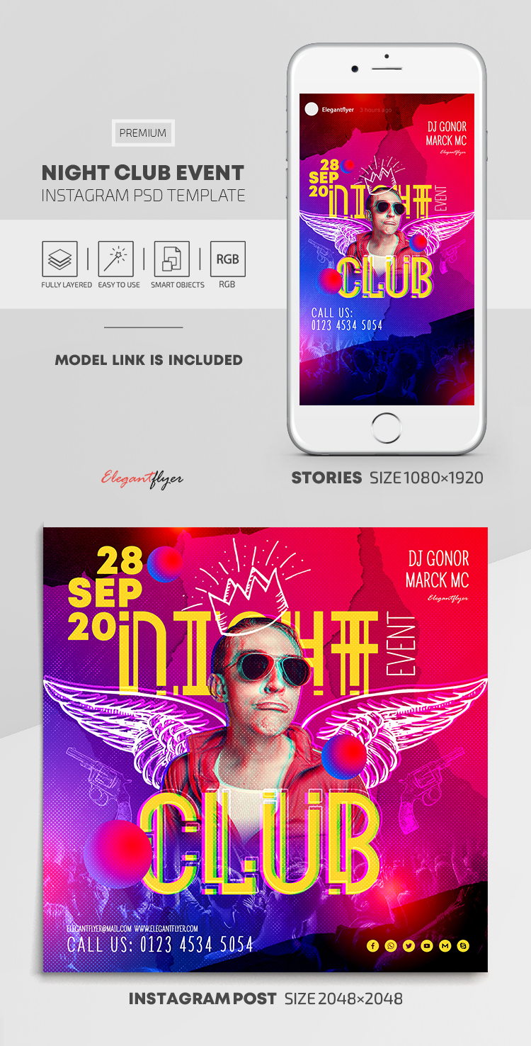 Night Club Event – Instagram Stories Template in PSD + Post Templates