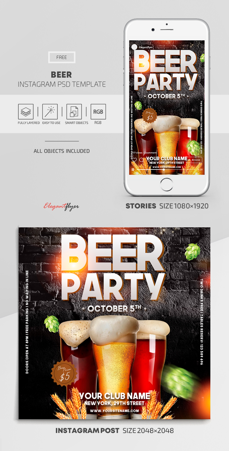 Beer – Free Instagram Stories Template in PSD + Post Templates