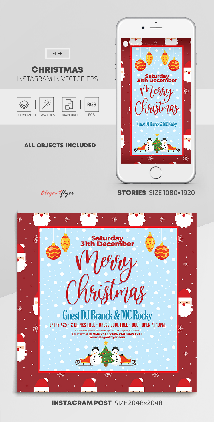 Christmas – Free Instagram Stories Template in EPS + Post Templates