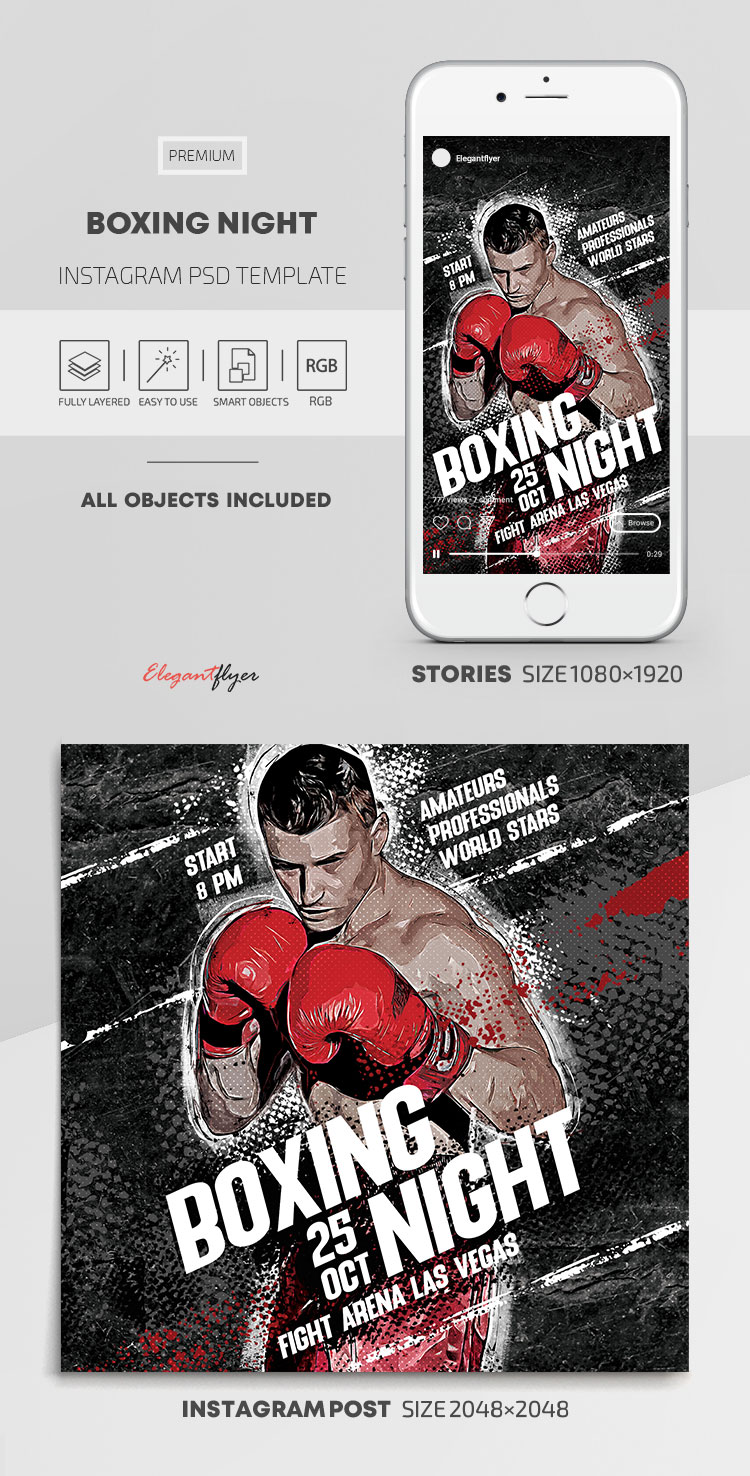 Boxing Night – Instagram Stories Template in PSD + Post Templates