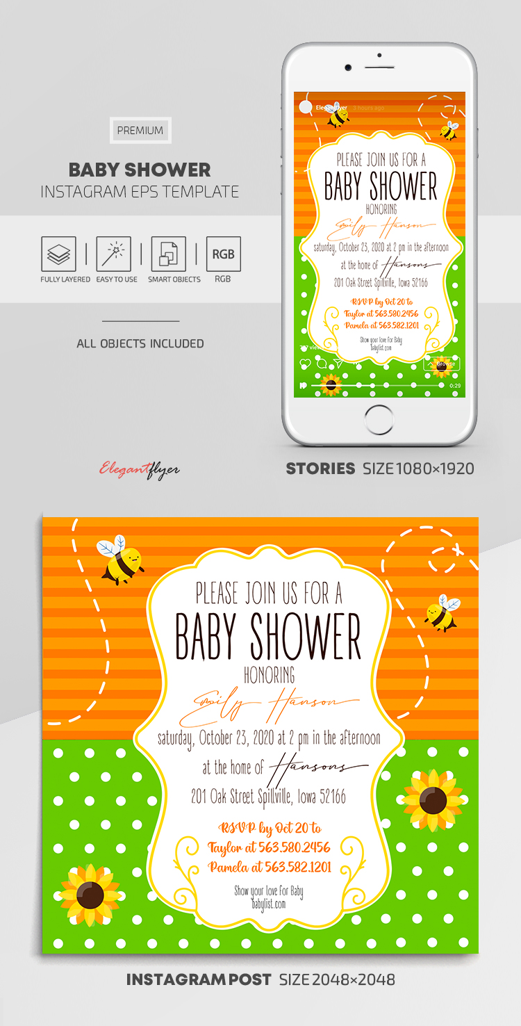 Baby Shower – Instagram Stories Template in EPS + Post Templates