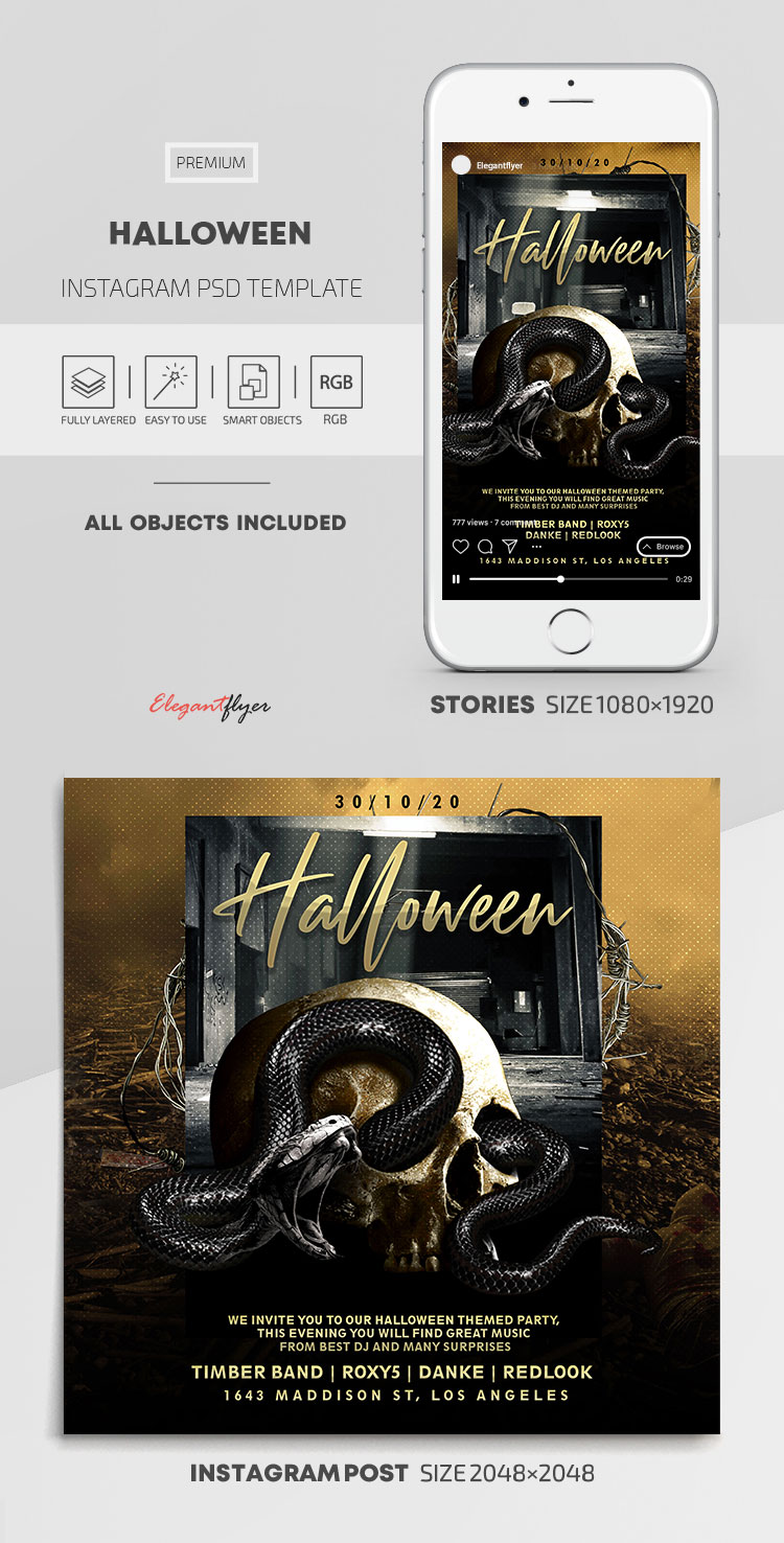 Halloween – Instagram Stories Template in PSD + Post Templates