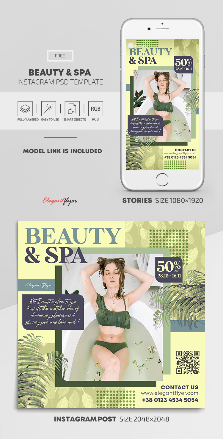 Beauty & Spa – Free Instagram Stories Template in PSD + Post Templates