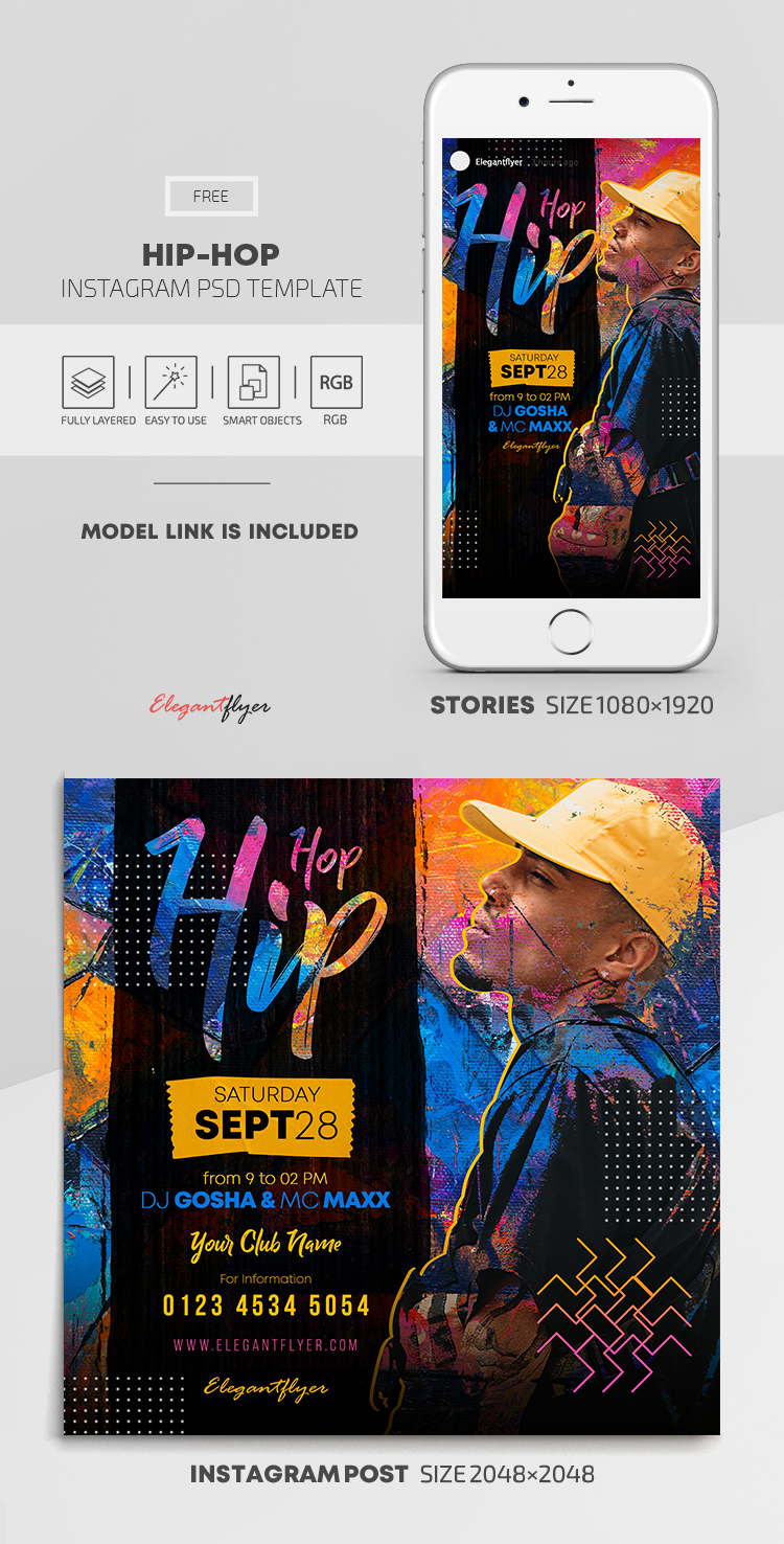 Hip-Hop – Free Instagram Stories Template in PSD + Post Templates