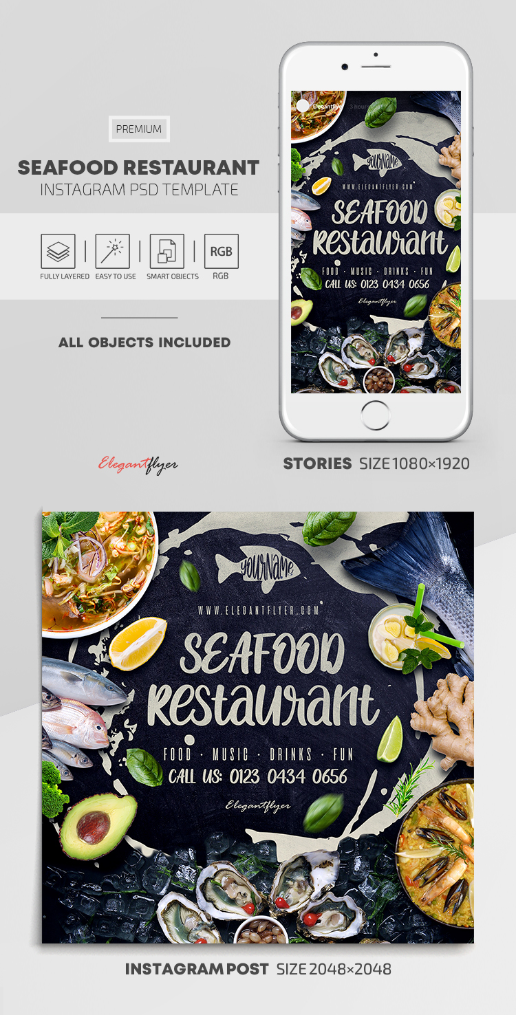 Seafood Restaurant – Instagram Stories Template in PSD + Post Templates