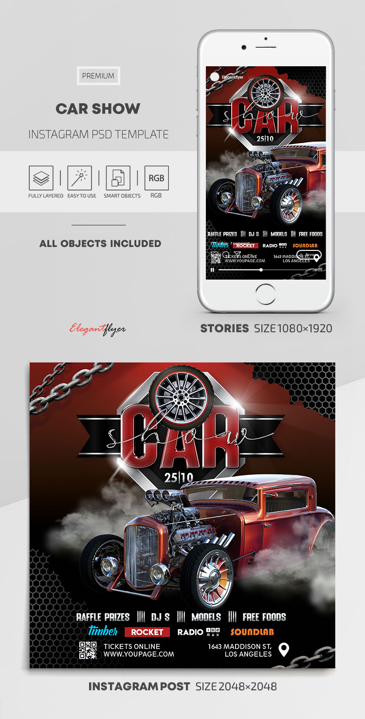 Car Show – Instagram Stories Template in PSD + Post Templates