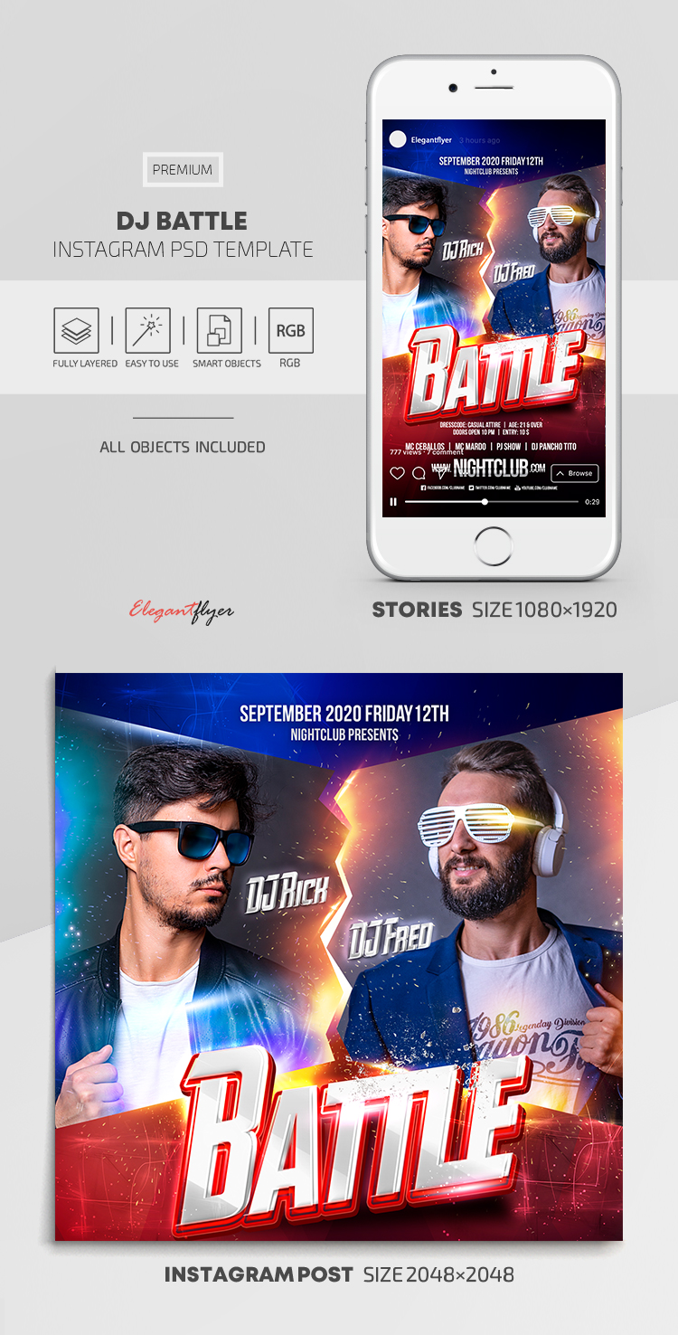 DJ Battle – Instagram Stories Template in PSD + Post Templates