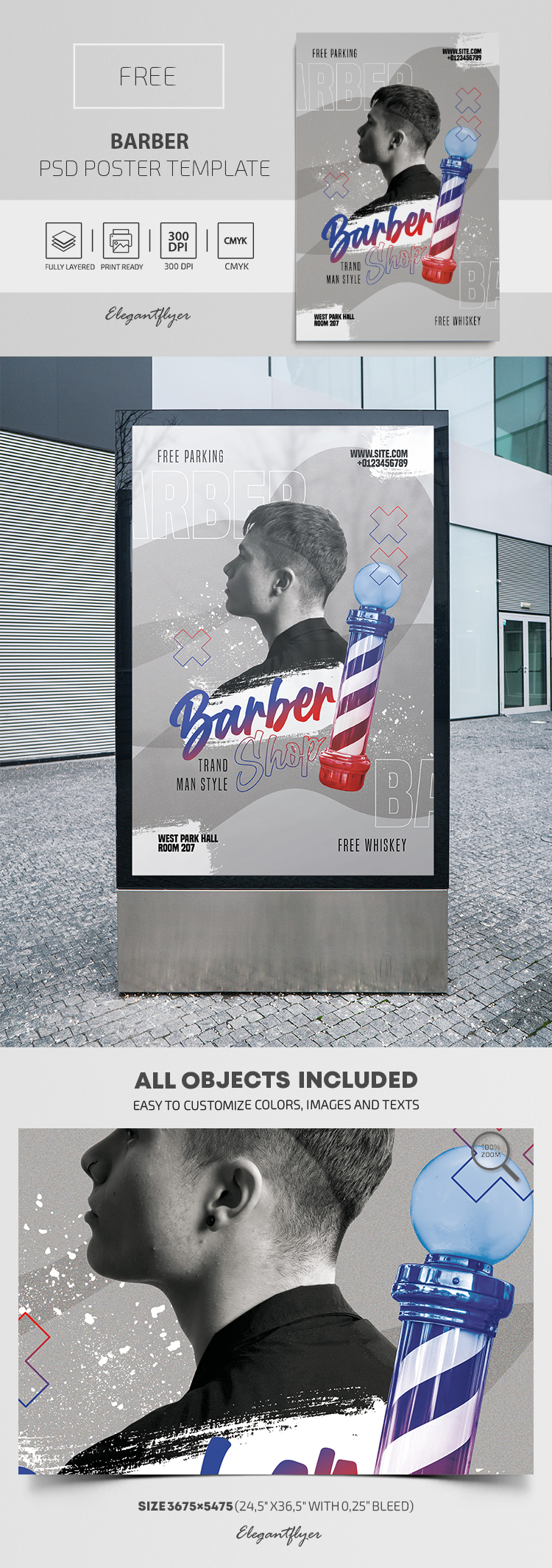 Barber – Free PSD Poster Template