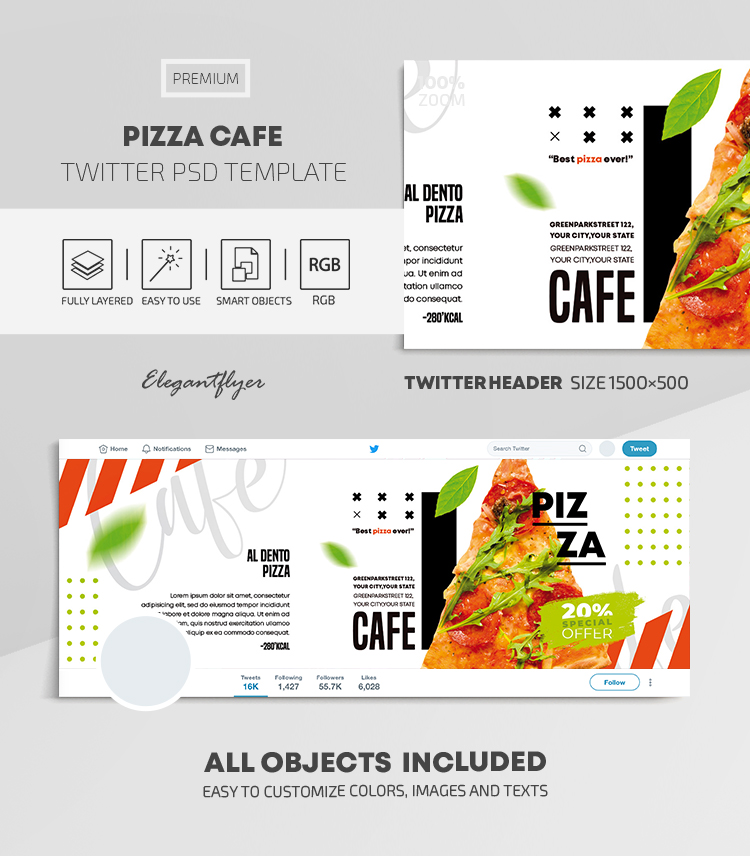 Pizza Cafe – Twitter Header PSD Template