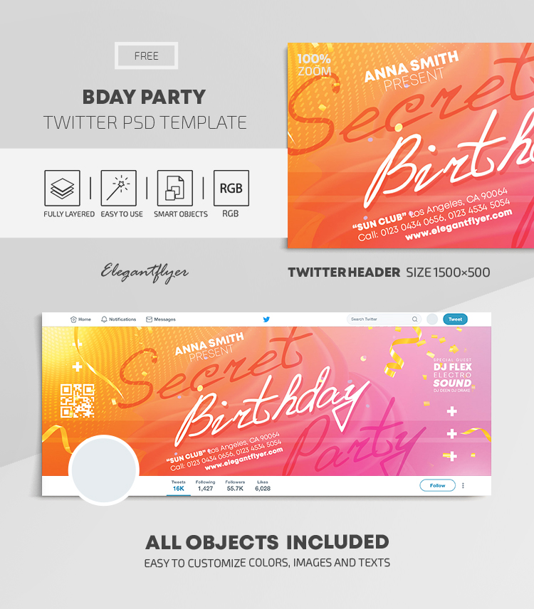 Birthday Party – Free Twitter Header PSD Template