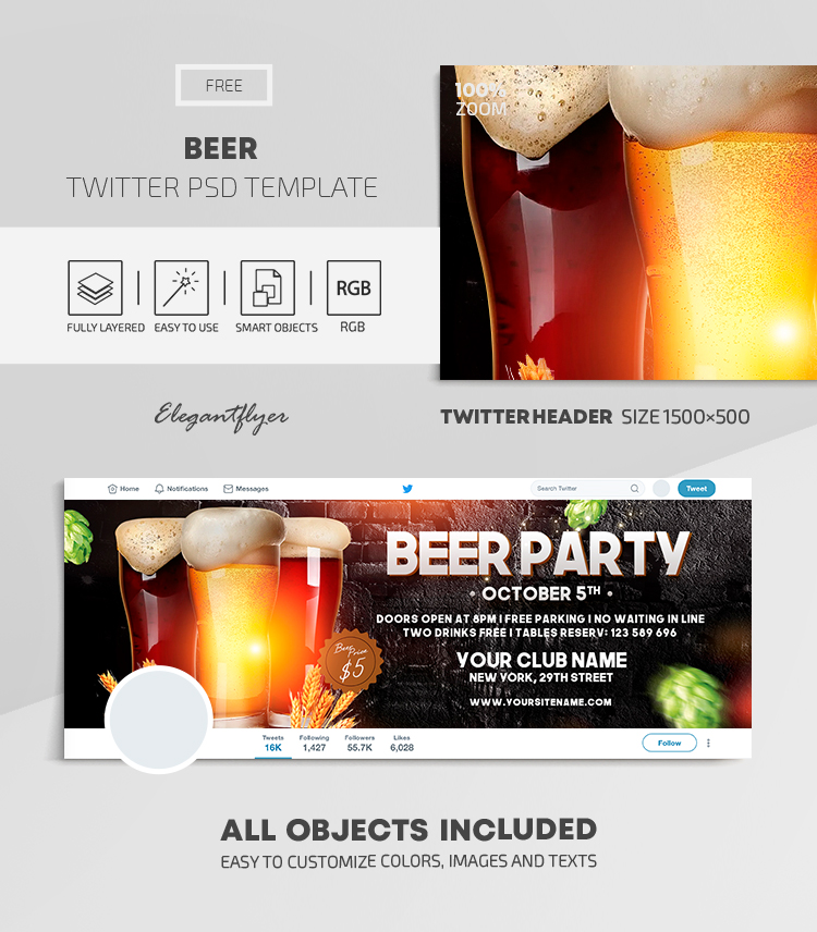 Beer – Free Twitter Header PSD Template