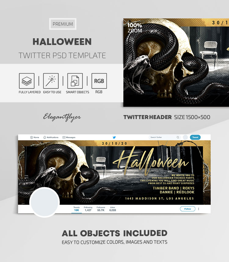 Halloween – Twitter Header PSD Template
