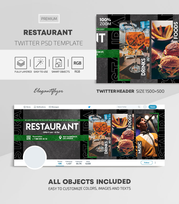 Restaurant – Twitter Header PSD Template