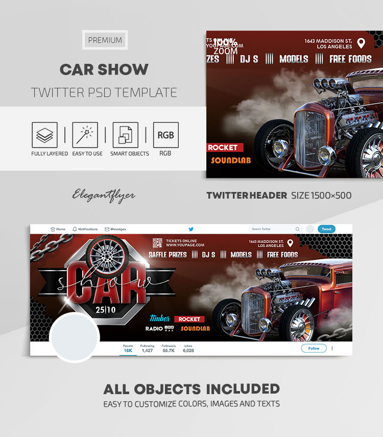 Car Show – Twitter Header PSD Template