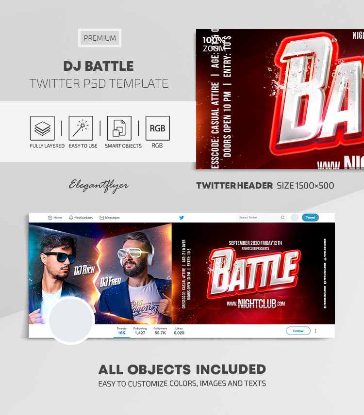 DJ Battle – Twitter Header PSD Template
