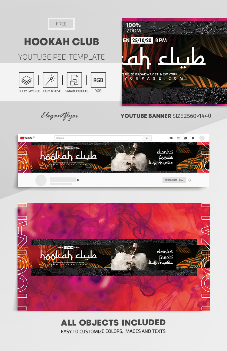 Hookah Club – Free Youtube Channel banner PSD Template