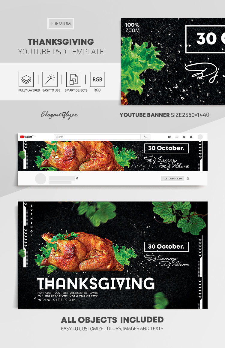 Thanksgiving – Youtube Channel banner PSD Template