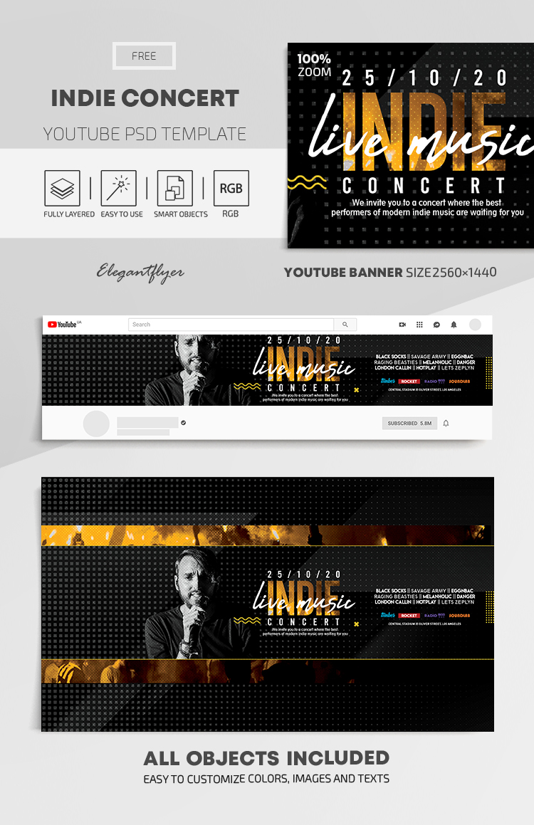 Indie Concert – Free Youtube Channel banner PSD Template