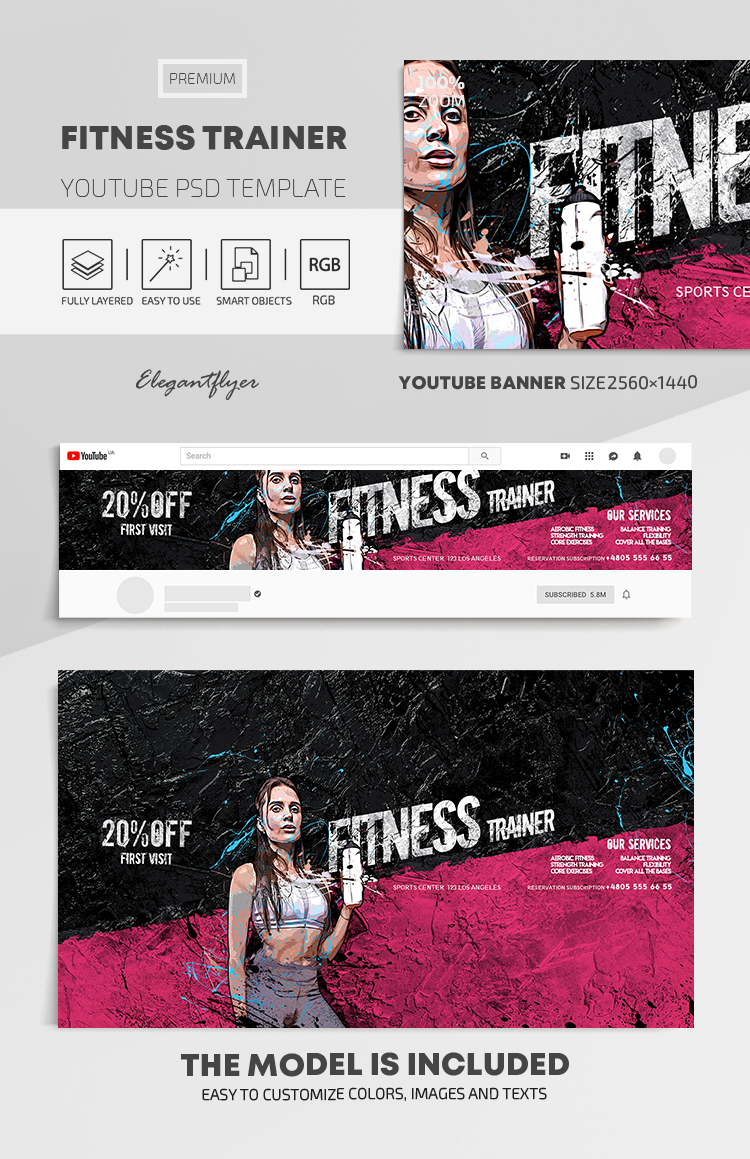 Fitness Trainer – Youtube Channel banner PSD Template