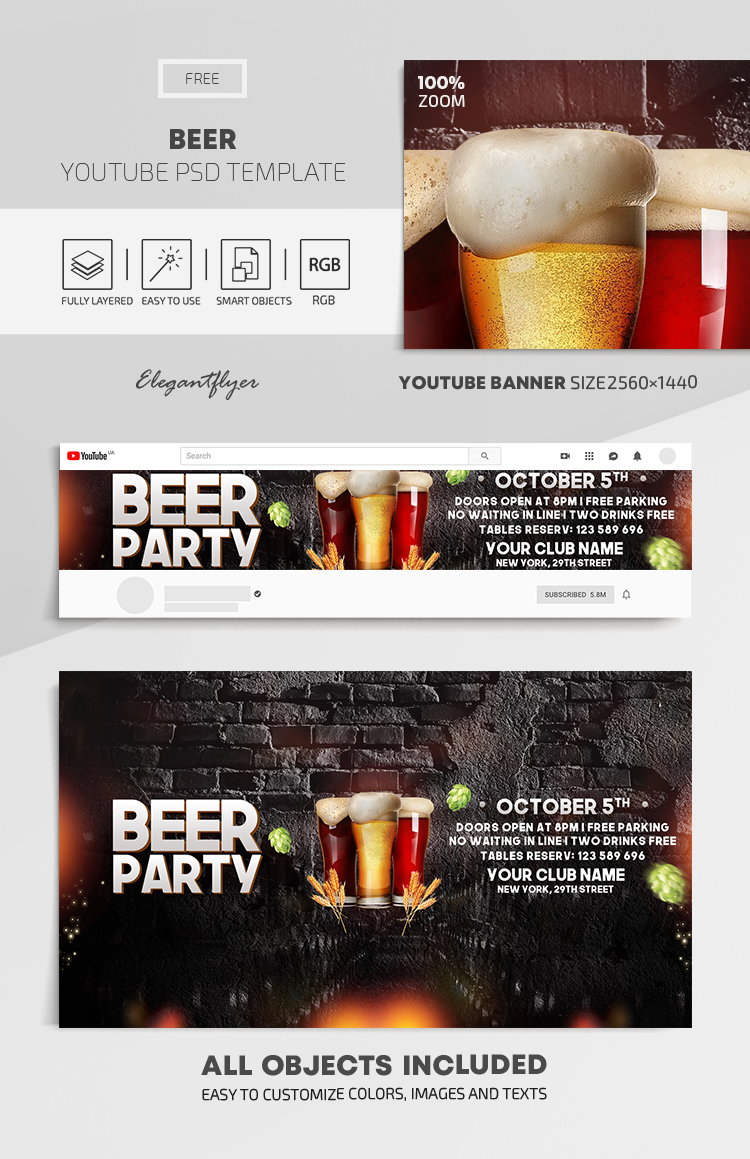 Beer – Free Youtube Channel banner PSD Template