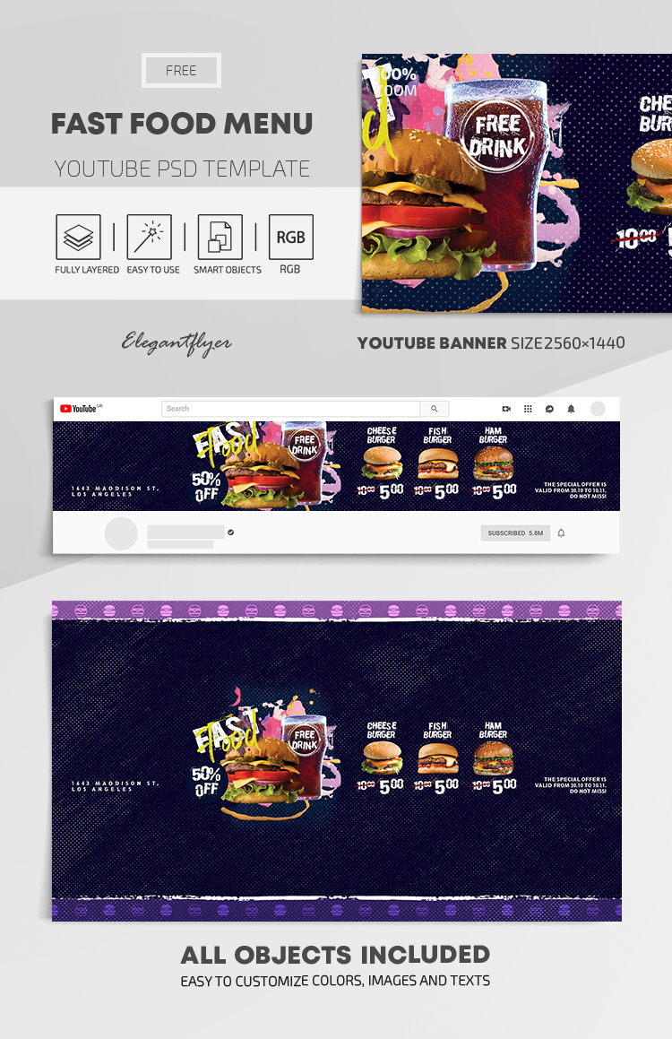 Fast Food Menu – Free Youtube Channel banner PSD Template