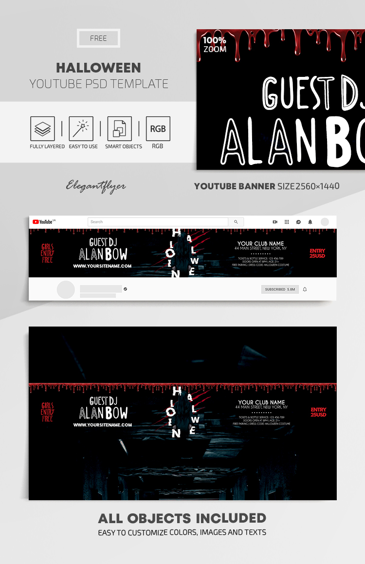 Halloween – Free Youtube Channel banner PSD Template