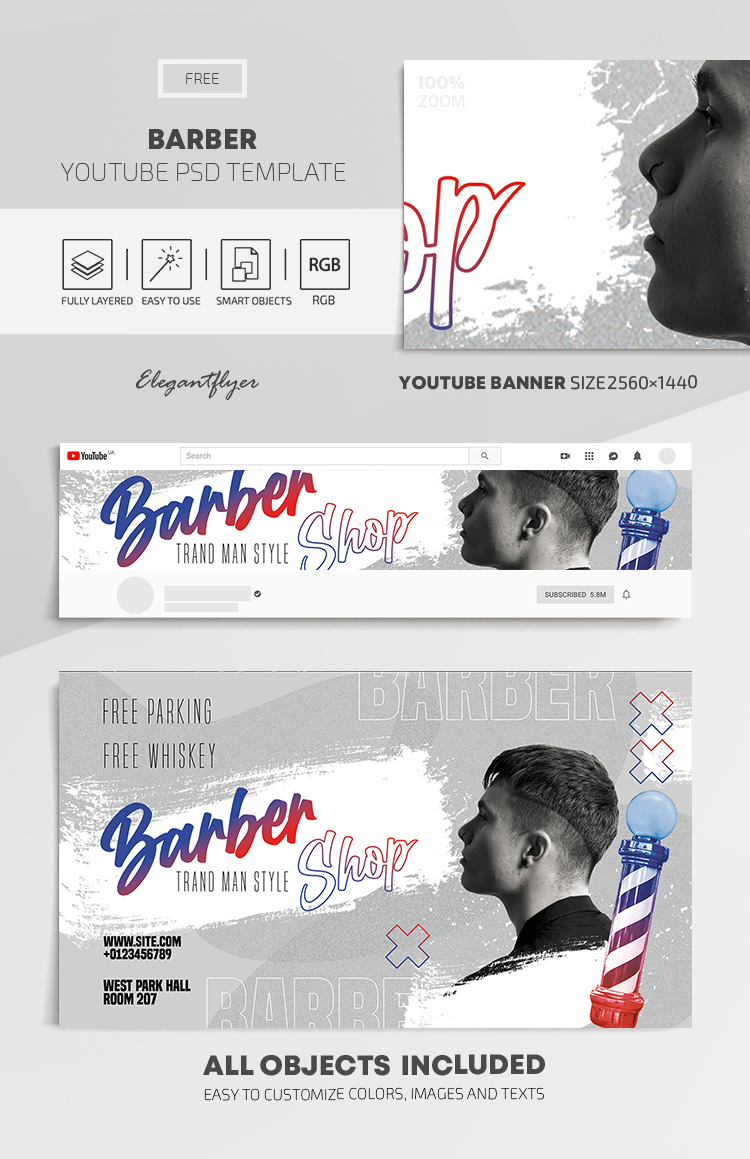 Barber – Free Youtube Channel banner PSD Template