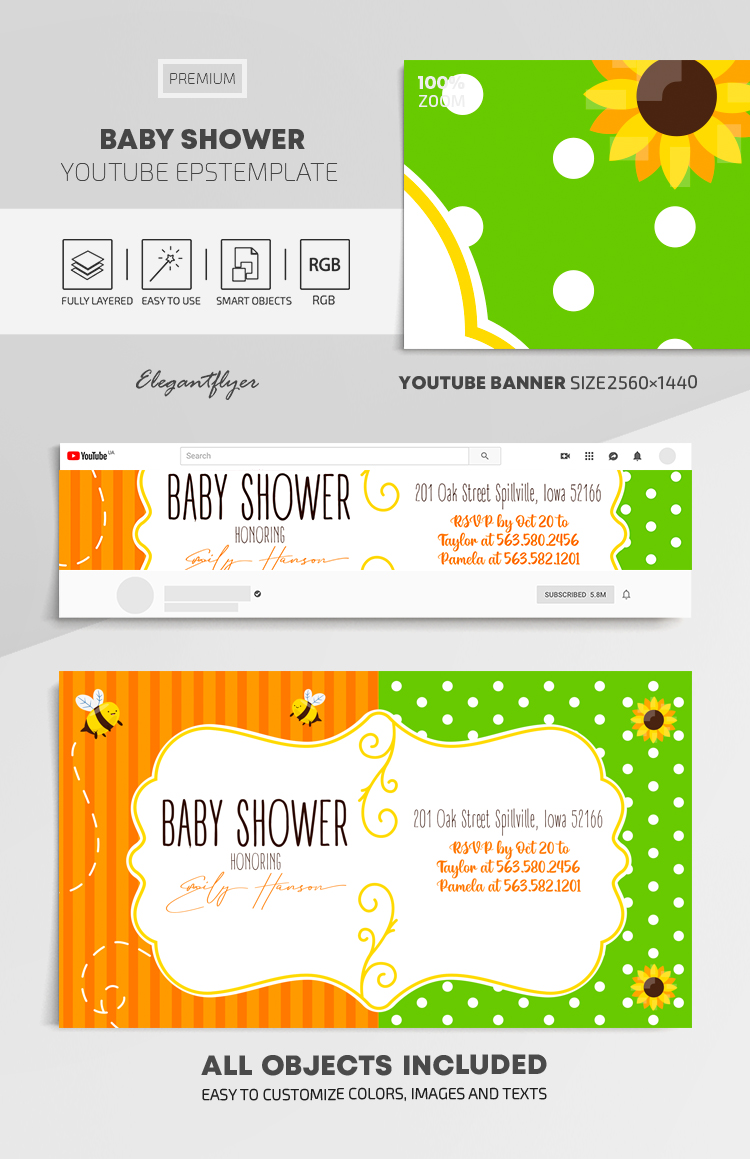 Baby Shower – Youtube Channel banner EPS Template