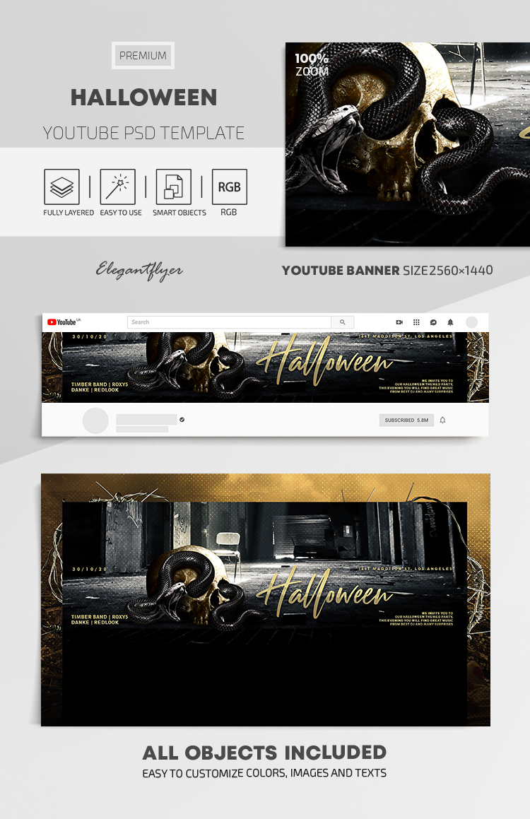Halloween – Youtube Channel banner PSD Template