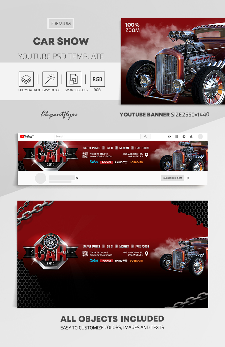 Car Show – Youtube Channel banner PSD Template