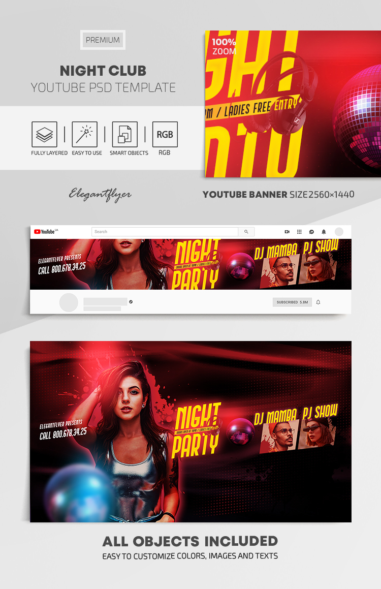 Night Club – Youtube Channel banner PSD Template