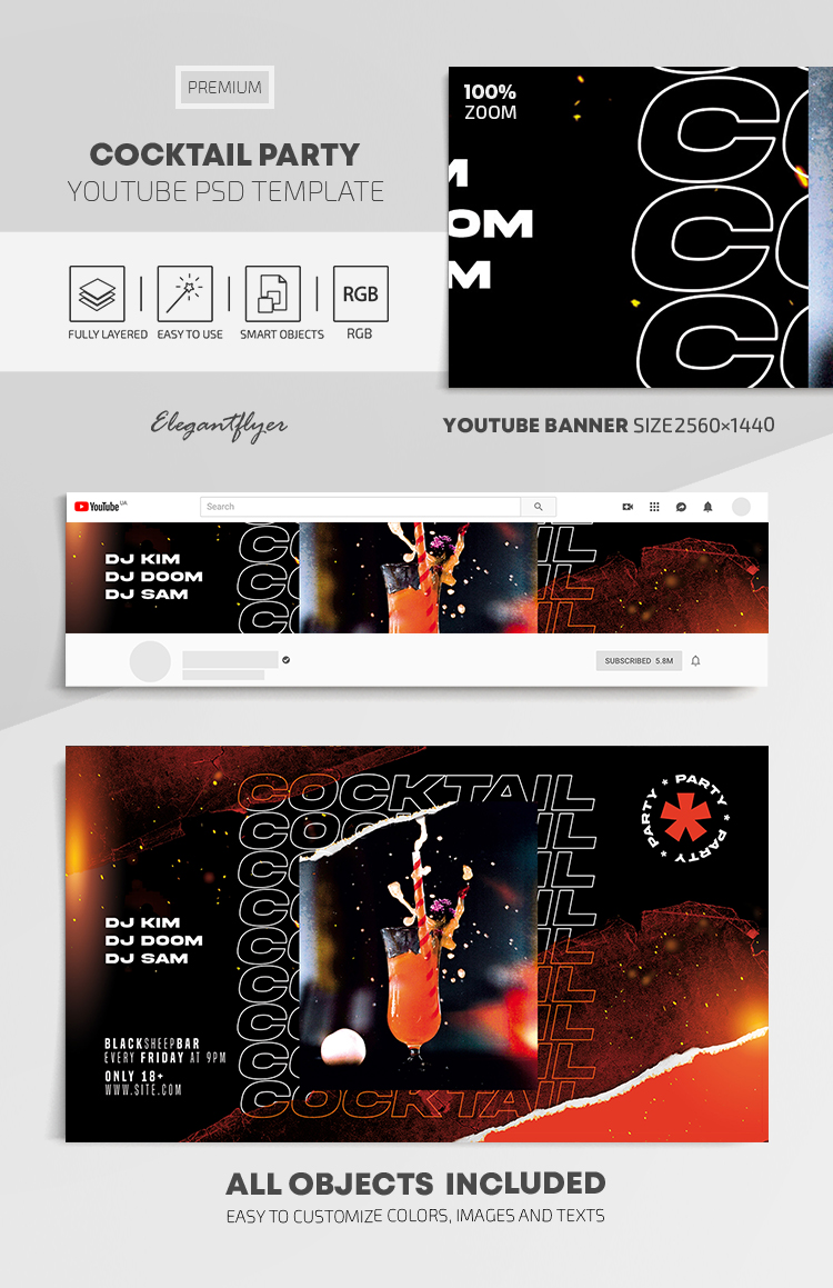 Cocktail Party – Youtube Channel banner PSD Template