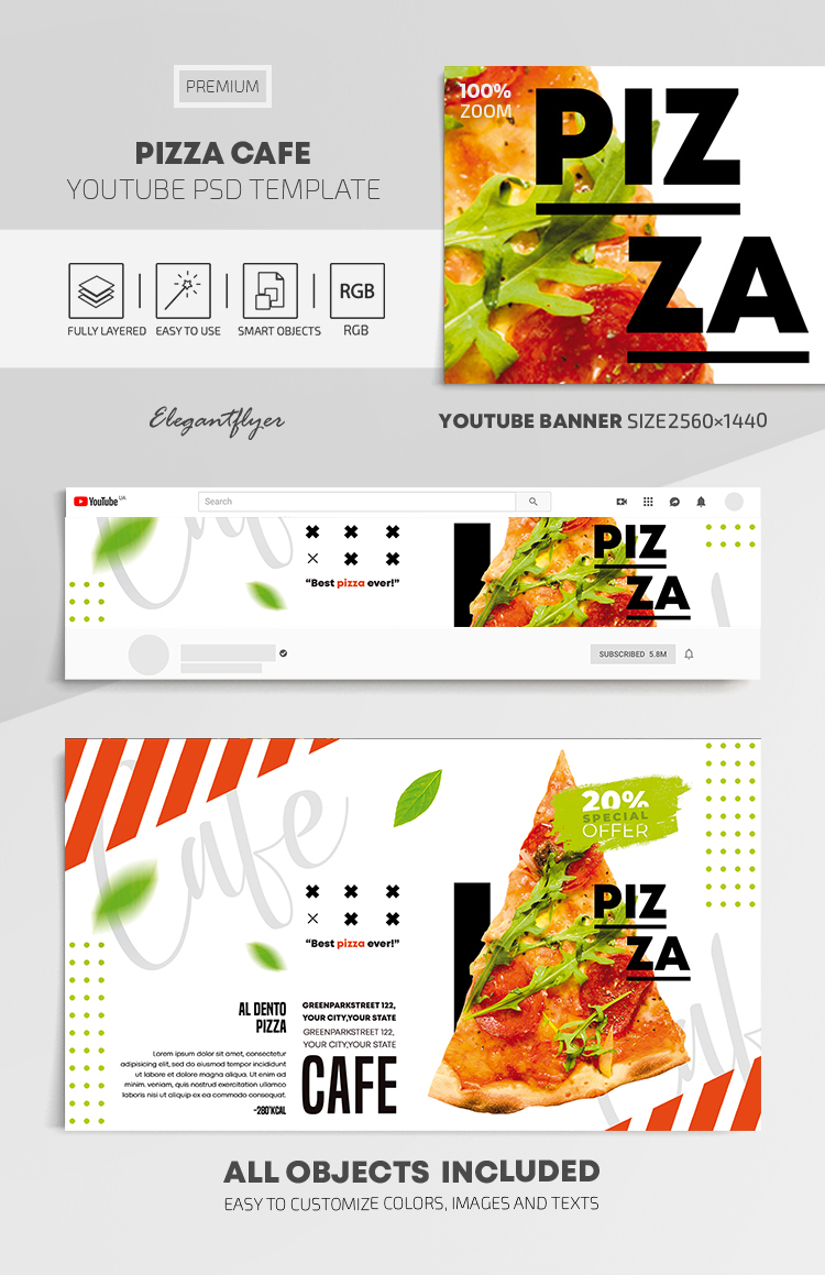 Pizza Cafe – Youtube Channel banner PSD Template