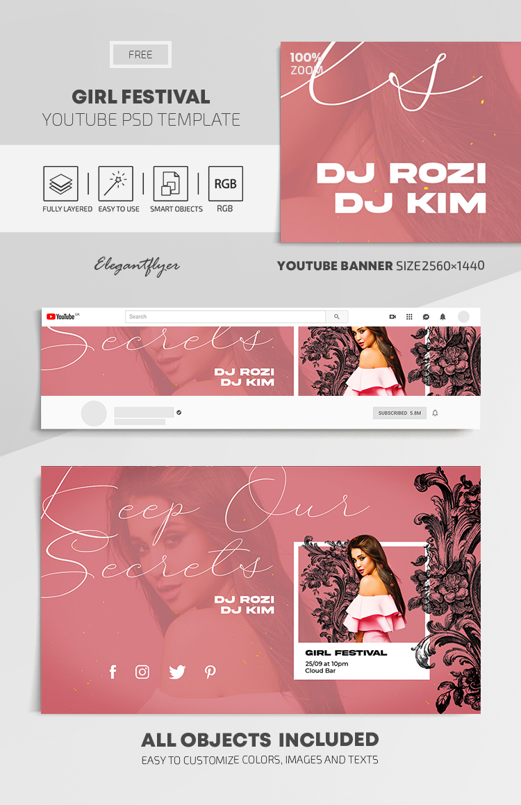 Girl Festival – Free Youtube Channel banner PSD Template
