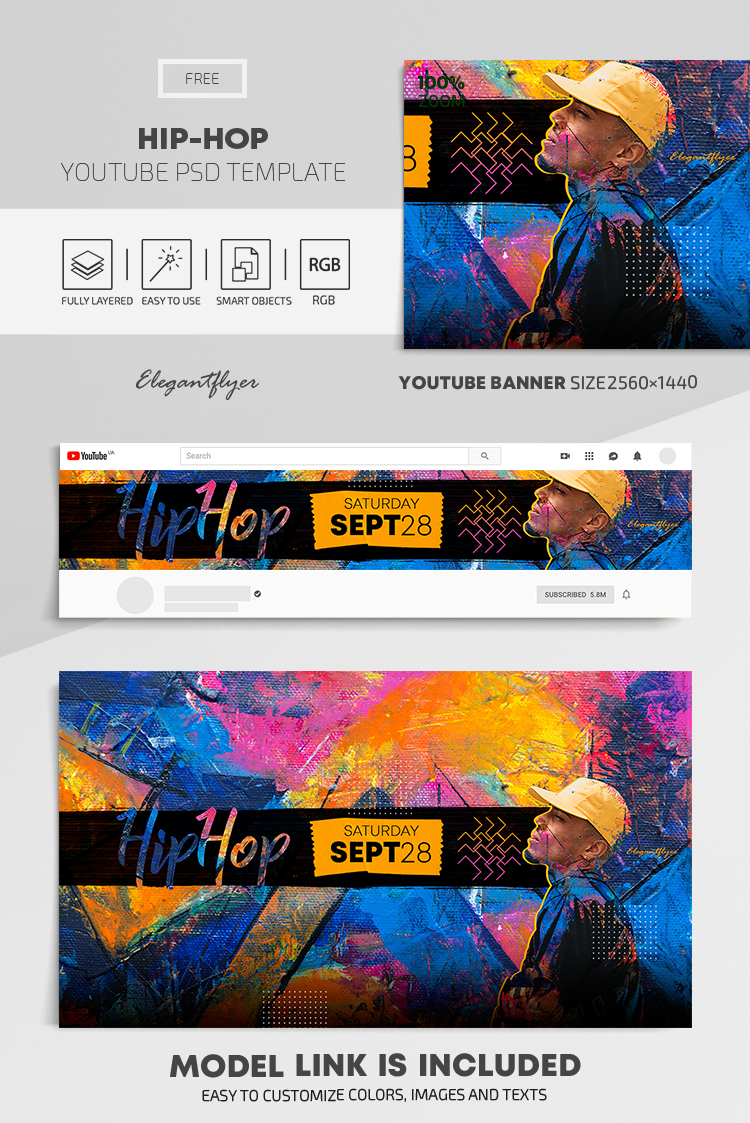 Hip-Hop – Free Youtube Channel banner PSD Template
